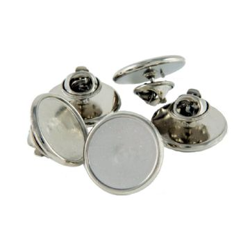 Premium Badge Blank round 18mm silver clutch fitting